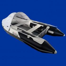 Annexe bateau pneumatique Lemarius Mistral 300 noir et blanc avec un plancher aluminium.